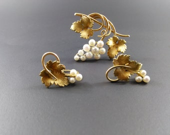 Krementz Gold Filled Cultured Pearl Grape Custer Demi Parure
