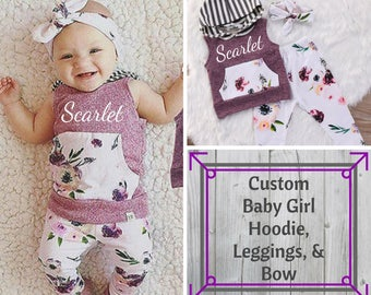 Custom Baby Girl Outfit/Summer Clothes/Baby Girl Floral/Baby Girl Leggings/Design your own shirt/Hoodie/Sleeveless Shirt/Baby Girl Tank/