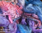 Dyed British Rare Breeds & Mixed Fibres for Blending. 170gms. Spinning, Felting supply. Merino, Teeswater, silk. 'Wool Tweed' colourway