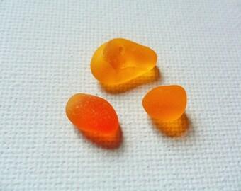 Ultra rare Perfect bright orange sea glass trio - Seaham beach area England