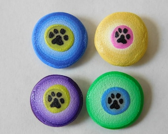 Polymer Clay Thumb Tacks, push pins, paw print thumbtacks