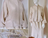 Vintage Rare Altuna Agnona Silk and Wool Skirt Suit Winter White Cream Ivory Chenille Type Luxury Italian Textile