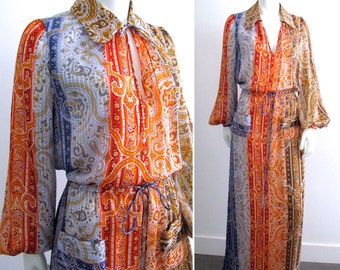 Vintage 1970s Ruth Matthews Design High End Silk Maxi Dress with Keyhole Neckline and Blouson Sleeves