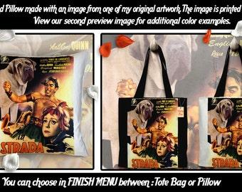 English Mastiff Pillow or Tote Bag/English Mastiff Art/Dog Tote Bag/Dog Pillow/Dog Art/Custom Dog Portrait - La Strada Movie Poster