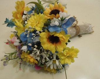 Wildflower Bridal Wedding Bouquet. Sunflower Daisy Babies Breath Bluebonnet Pink Green White Blue Purple. Bridesmaid Bouquet Burlap Lace