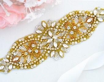 Gold Bridal Crystal Sash. Rose Gold Rhinestone Pearl Applique Wedding Belt ,vintage sash belt