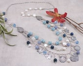 Aquamarine, Blue Quartz, Sodalite, Moonstone, Freshwater Pearl, Swarovski Crystal Sterling Silver Necklace with PMC Metal Clay Charms