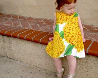 Marimekko girls dress • Girls yellow summer dress • Marimekko clothing •  girls floral A-line dress • Marimekko Primavera • Toddler dress