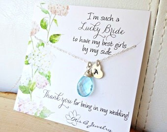 Custom bridesmaid jewelry with hand stamped initial tag and message cards, bridal jewelry gift set, Otis B weddings, bridal party favors