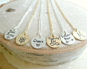 Custom text, hand stamped charm necklace, personalized message, layering jewelry, bridesmaid gifts, graduation, minimal layered, Otis B