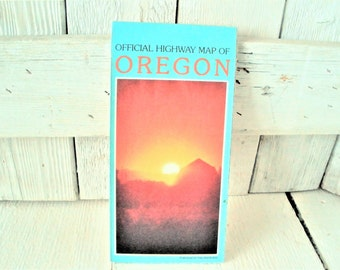 Vintage Oregon highway map road city maps 1988- free shipping US