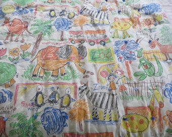 Vintage Crib Blanket Zoo Animals Blue Green Yellow Red Yellow Bedding Tie Quilt