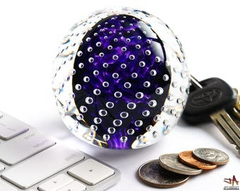 Handcrafted Art Glass Paperweight - Rich Royal Purple with Bubble Grid