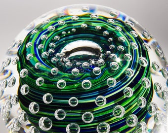 Hand Blown Glass Paperweight - Blue and Sparkly Green Swirls with Bubble Grid and Lens Top