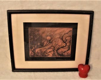 Vintage Mary Walsh Ink Drawing Orange Black Evening Art in Frame 1989 - 12 of 50 made - Beautiful framed wall picture