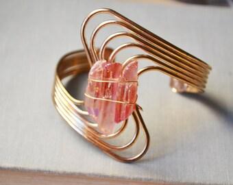 Pink Crystal Quartz Gold Geometric Bangle Bracelet