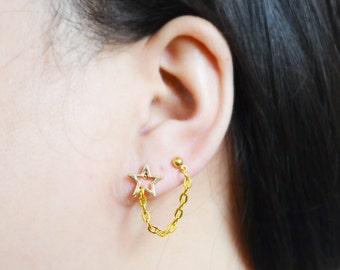 Gold Star Double Pierce Cartilage Earrings (Pair)