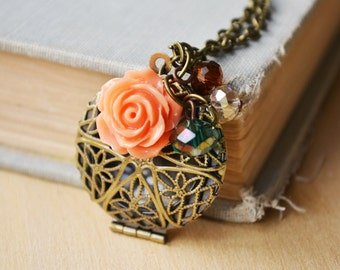 Apricot Rose Scent Diffuser Locket Necklace