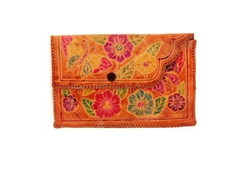Vintage 1970's Mexican Hand Tooled Carved Floral + Butterfly Brown Leather Small Coin Purse Wallet