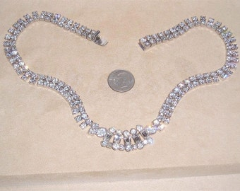 Vintage Signed Parco Crystal Rhinestone Choker Necklace Late 1940's Jewelry 2054
