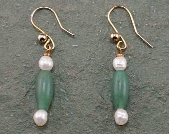 Green Aventurine and Freshwater White Pearl Earrings