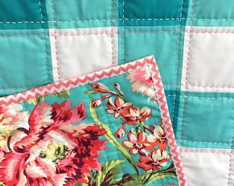 Turquoise Aqua and White Plaid quilt with Coral Accents and Hand Quilting Crib Quilt