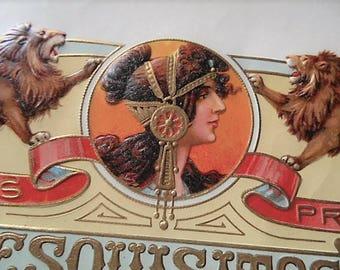 Incredible Esquisitos Dalilia Inner Cigar Box Label Art Nouveau Mucha 1910s