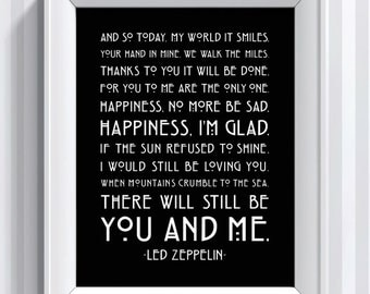 Led Zeppelin Lyrics - Thank You - 11x14 - poster print