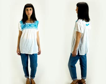 Vintage 1970s White and Turquoise Embroidered Gauze Peasant Top Fits Like Size L Large