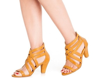 Mustard high heel sandals / women shoes / bridesmaids shoes / peep toe / non leather sandal / vegan leather / Evening sandals / bridal shoes