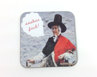 NEW - Sosban Fach Welsh Text Small Saucepan Rugby Song Vintage Girl Melamine Coaster