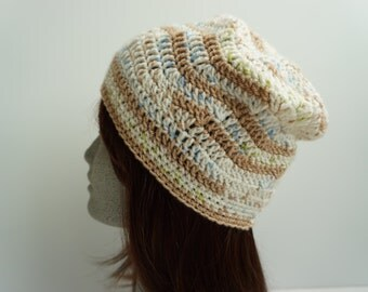 Brown Cream Crochet Slouch Hat Multi Color Crocheted Slouchy Beanie Slouchy Hat Womens Fashion Crochet Hat Beanie (HAT106 Macaroon)