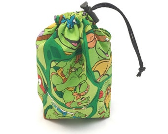 TMNT, Dice Bag, Draw String Bag, Free Standing, Revisable, Gamer Bag, D&D Dice Bag, Makeup Bag, Small Gift Bag, Pouch, RTS