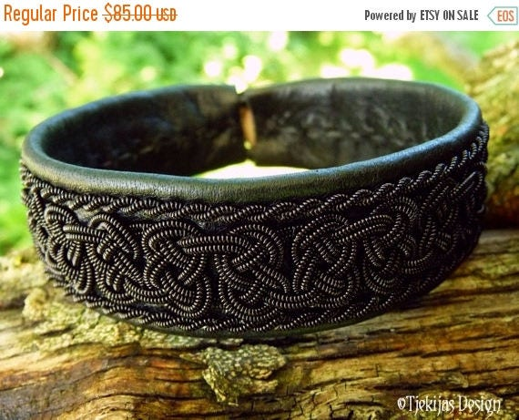 Gothic Black Viking Braid BEOWULF Sami Bracelet Cuff in Black Reindeer Leather and Antler Closure - Custom Handcrafted Nordic Folklore