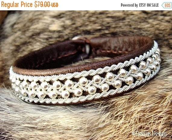 Swedish Viking Lapland Reindeer Leather Cuff ROSKVA Antique Brown Sami Bracelet with Sterling Silver Beads in Spun Pewter Braids