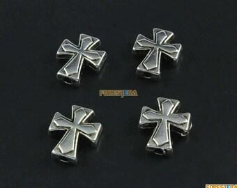 50Pcs Antique Silver Cross Bracelet Bead Cross Chain Bead Cross Bead 13x11mm (PND1495)
