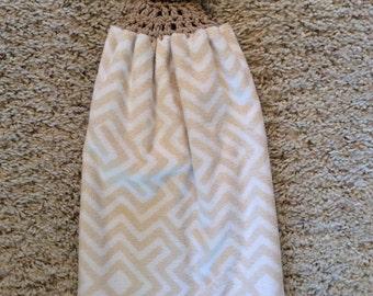 Hanging Kitchen Towel -  Crochet Top Towel - Beige - Tan - Double and Reversible