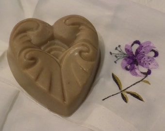 Scroll Heart Shaped Goat Milk Soap
