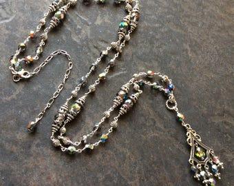 "Extra long Boho Chic necklace with Medium Vitrail rainbow glass beads 36"""