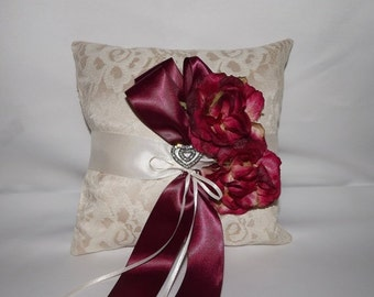 SALE Burgundy Wine Wedding Ring Pillow /Lace Ring Bearer Pillow / Champagne Lace Ring Cushion/ Wine n Roses OOAK Bridal Ring Pillow