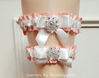 SALE Wedding Garter Set,  Peach and White Garter Set,  Bridal Garter Set, Wedding Garter Belt