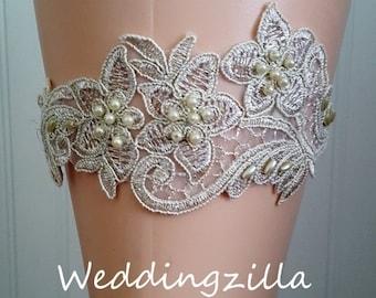SALE Gold Wedding Garter/  Gold Lace Bridal Garter /Bridal Garter/ Lace Garter/ Wedding Garter Belt/ Bombshell Garter/Ivory Garter
