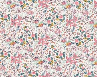 NEW SEASON Fat eighth Beach Blossom A Liberty print, coral, teal and chartreuse tropical floral Liberty of London tana lawn