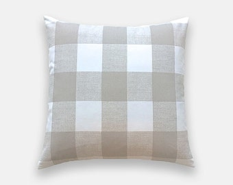 Ecru Tan Buffalo Check Throw Pillow Cover. Tan and White Gingham. Buffalo Check. Plaid Decorative Cushion Cover.