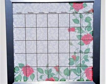 floral calendar red roses dry erase calendar framed wall calendar magnetic calendar teacher planning office calendar