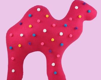 Circus Animal Cookie Pillow, Camel Throw Pillows, Camel Cushion, Decorative Felt Pillow, Toss Pillow, Decorative Animal Cushion, Camel decor