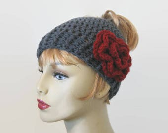 Gray Messy Bun Hat with flower Crochet pony tail hat Gray Bun Beanie Charcoal Gray  Bun hat Knit Messy Bun Hat Crochet Beanie Messy Bun hat
