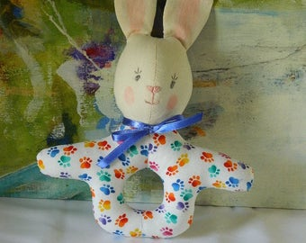 Baby's First Easter -  Easter Basket Gift - Baby Bunny Rattle - Soft Toy Rattle - Baby Shower Gift - First Birthday - Baby Noisemaker - Soft
