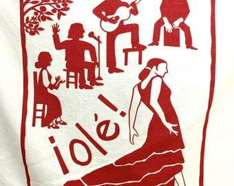 Flour Sack Dish Towel - Flamenco, Red or Turquoise