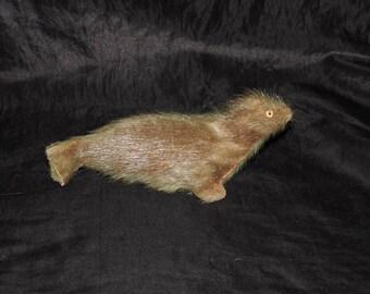 Vintage Handmade Seal Stuffed Animal Toy Figurine Made of Real Fur Hide Alaska Arctic